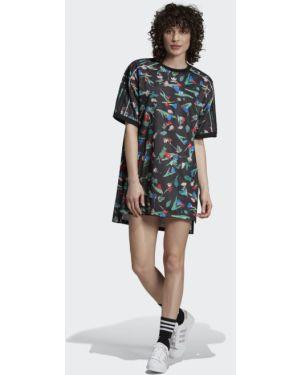 Платье футболка с цветочным принтом Adidas