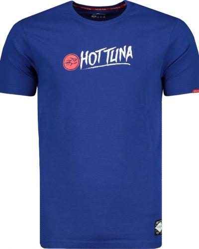 Prążkowany niebieski t-shirt bawełniany Hot Tuna