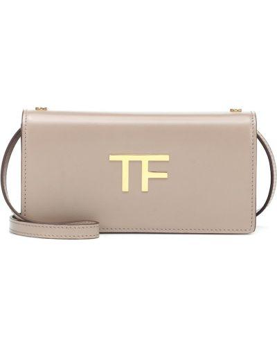 Skórzany beżowy torba sprzęgło Tom Ford