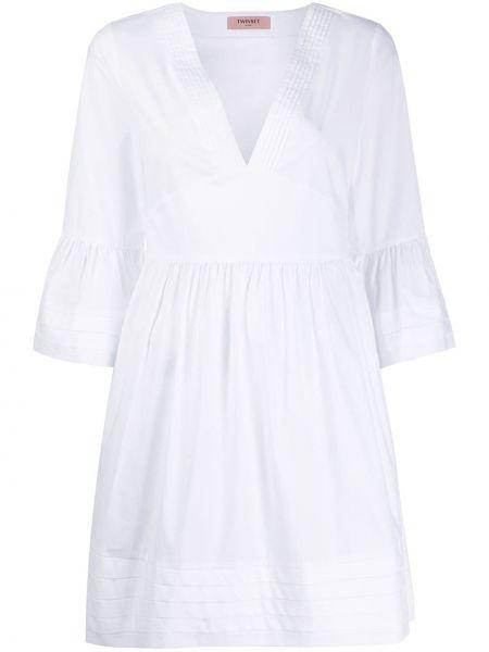 Платье из поплина с V-образным вырезом Twin-set