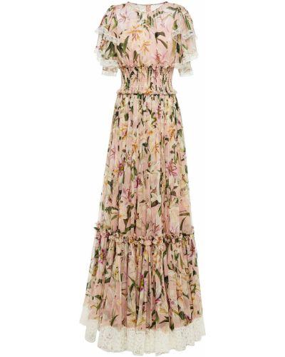 Розовое кружевное шифоновое платье макси Dolce & Gabbana