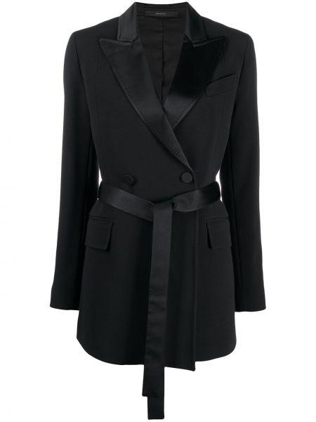 Приталенное черное длинное пальто двубортное Paul Smith