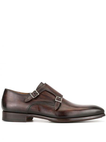 Кожаные коричневые монки на каблуке Magnanni
