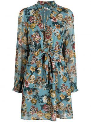 Niebieska sukienka długa rozkloszowana z długimi rękawami Liu Jo
