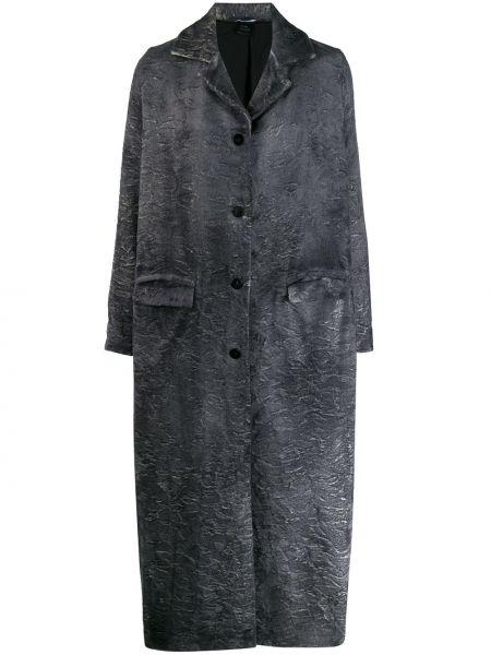 Черное длинное пальто с капюшоном из альпаки Avant Toi
