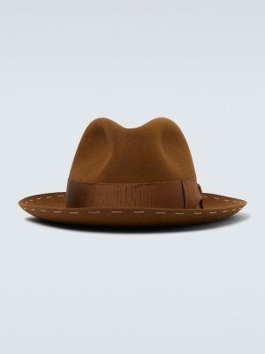 Klasyczny brązowy kapelusz z wiskozy Borsalino