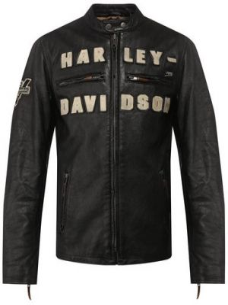 Кожаная кожаная куртка с рисунком Harley Davidson