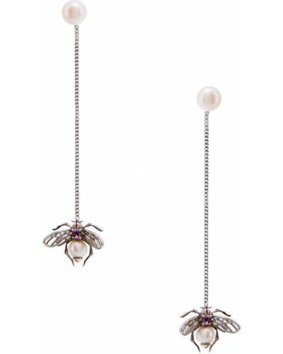 Серьги с жемчугом удлиненные с аметистом серебряные Axenoff Jewellery
