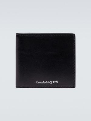 Czarny portfel skórzany Alexander Mcqueen