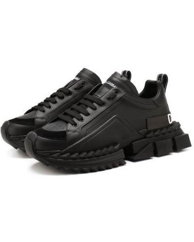 Кожаные кроссовки черные с декоративной отделкой Dolce & Gabbana
