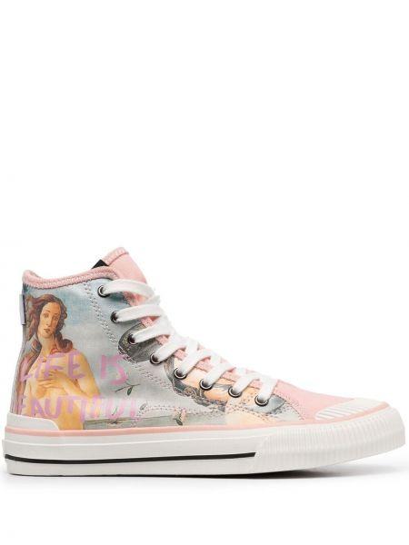 Кружевные розовые кроссовки на шнурках Moa Master Of Arts