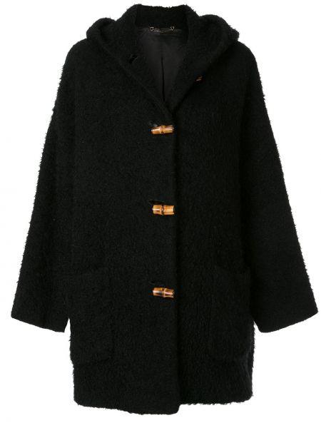 Свободное пальто с капюшоном из мохера айвори свободного кроя Gucci Pre-owned
