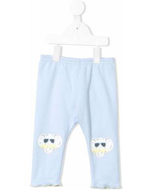 Niebieskie legginsy z wysokim stanem bawełniane Kenzo Kids