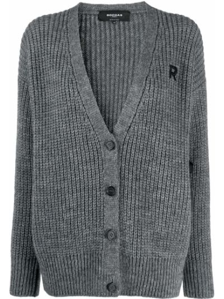Шерстяной кардиган с вышивкой в рубчик с V-образным вырезом Rochas