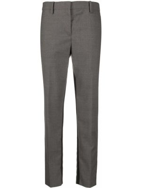 Шерстяные серые деловые укороченные брюки с поясом N°21