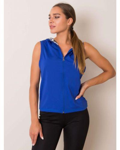 Niebieska sport kamizelka z kapturem materiałowa Fashionhunters