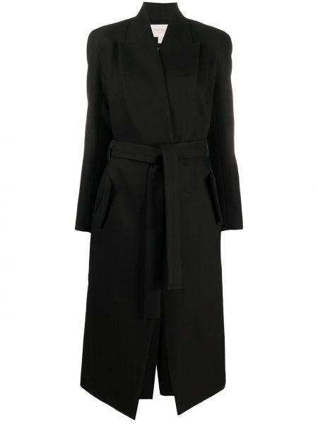 Черное пальто с поясом на пуговицах с лацканами Matériel