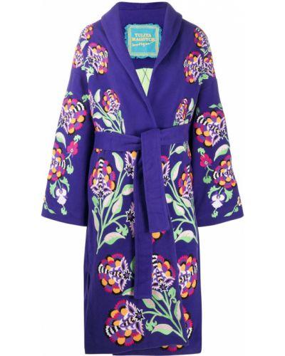 Wełniany fioletowy kimono z klapą prążkowany Yuliya Magdych