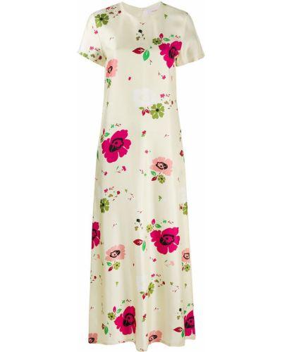 Шелковое с рукавами платье мини в цветочный принт La Doublej