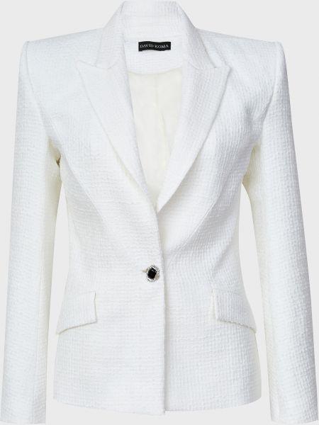 Шерстяной белый пиджак на пуговицах David Koma