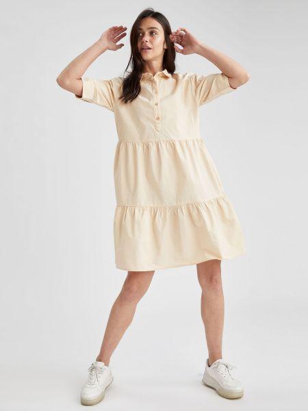 Бежевое платье мини с воротником на пуговицах Defacto