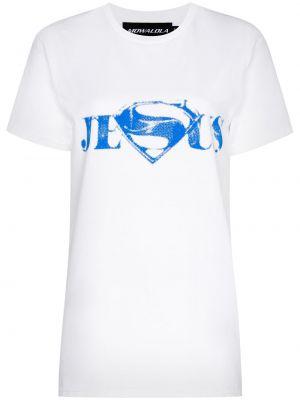 Niebieski t-shirt bawełniany krótki rękaw Mowalola