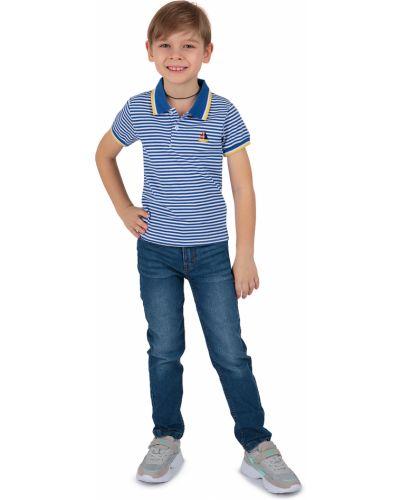 Синяя с рукавами футболка с вышивкой Fun Time