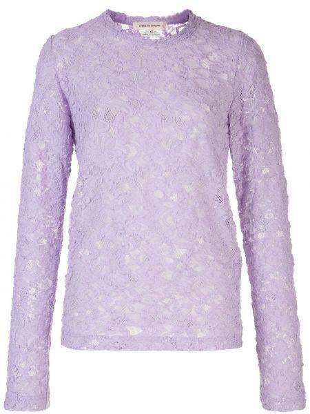 Fioletowy top z długimi rękawami bawełniany Comme Des Garcons