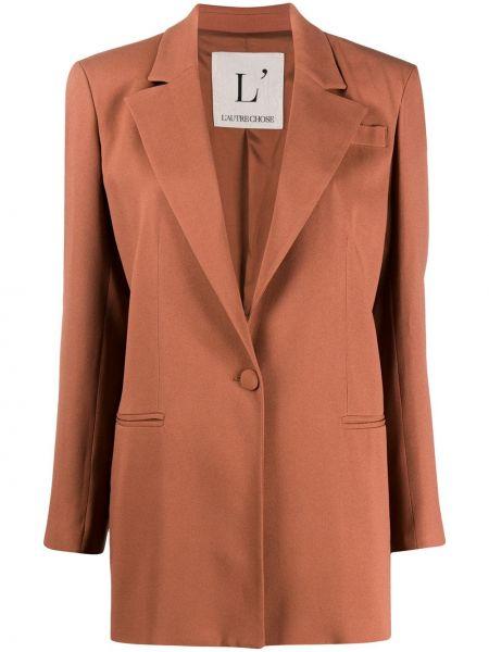 Коричневый пиджак с карманами на пуговицах L'autre Chose