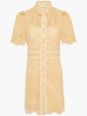 Текстильное бежевое кружевное платье мини Sandro