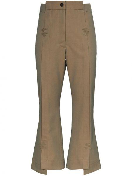 Расклешенные укороченные брюки с поясом Delada