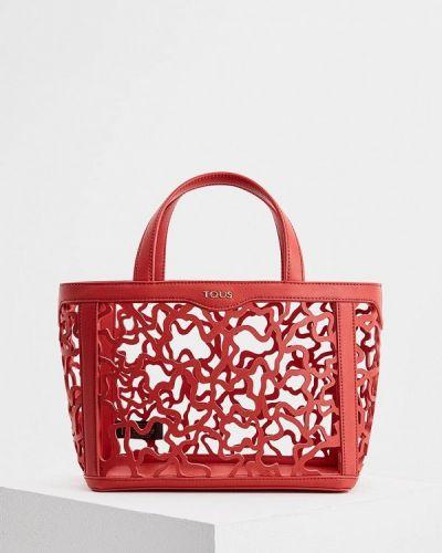 Красная кожаный сумка Tous