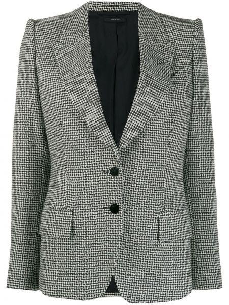 Черный приталенный пиджак с карманами Tom Ford