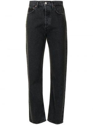 Czarny z wysokim stanem klasyczny jeansy z kieszeniami Agolde