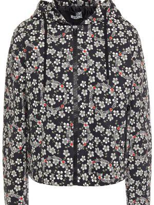 Джинсовая куртка с капюшоном - черная Love Moschino