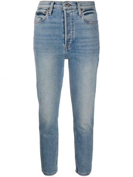 Bawełna niebieski jeansy na wysokości z kieszeniami z łatami Re/done