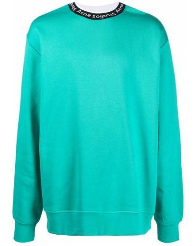 Zielona bluza długa oversize z długimi rękawami Acne Studios