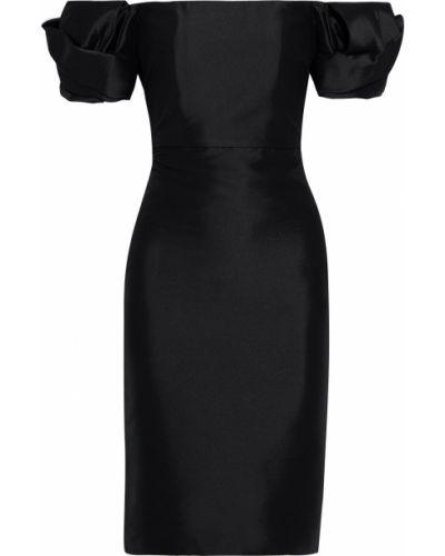 Плиссированное черное платье на крючках Badgley Mischka