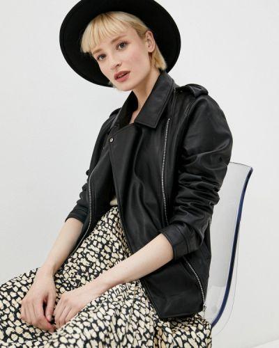 Черная кожаная куртка Ostin