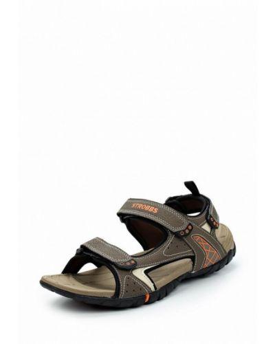 Коричневые кожаные сандалии Strobbs