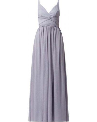 Niebieska sukienka wieczorowa rozkloszowana w paski Laona