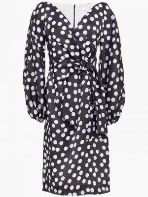 Шелковое черное платье с подкладкой Carolina Herrera