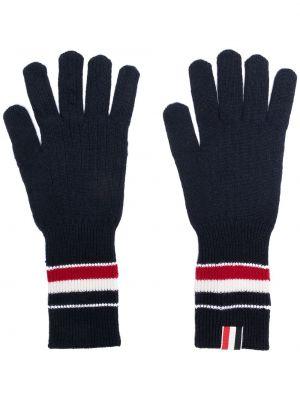 Шерстяные тонкие синие перчатки Thom Browne