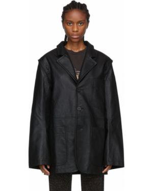 Черная длинная куртка с подкладкой с воротником для полных Telfar
