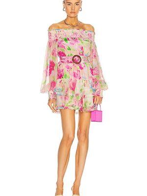 Розовое платье мини с поясом с декольте Rococo Sand