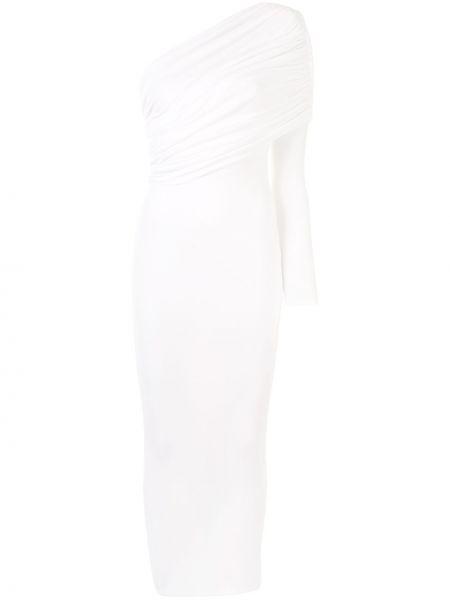 Biała sukienka midi asymetryczna z wiskozy Alexandre Vauthier