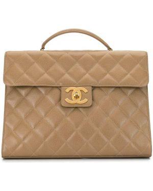 Кожаный коричневый портфель с карманами на молнии Chanel Pre-owned
