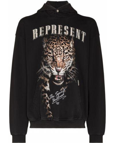 Czarna bluza z kapturem Represent