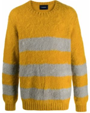 Приталенный желтый свитер из мохера с нашивками Johnundercover