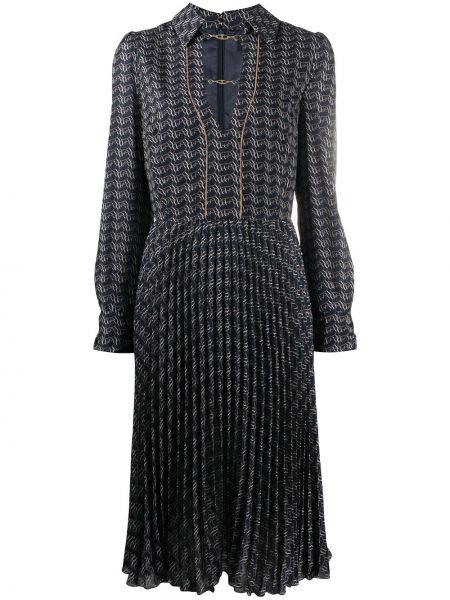 Прямое приталенное платье миди с длинными рукавами с V-образным вырезом Elisabetta Franchi